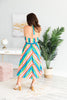 Bright And Bold Midi Dress, Blue-Multi
