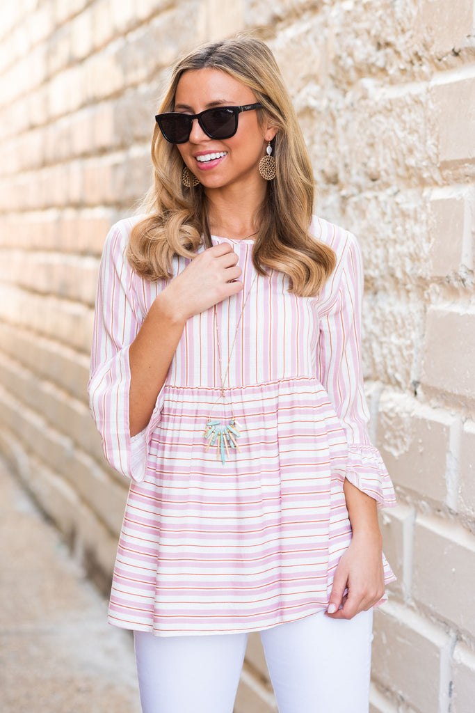 Wait No More Blush Pink Multi Stripe Top