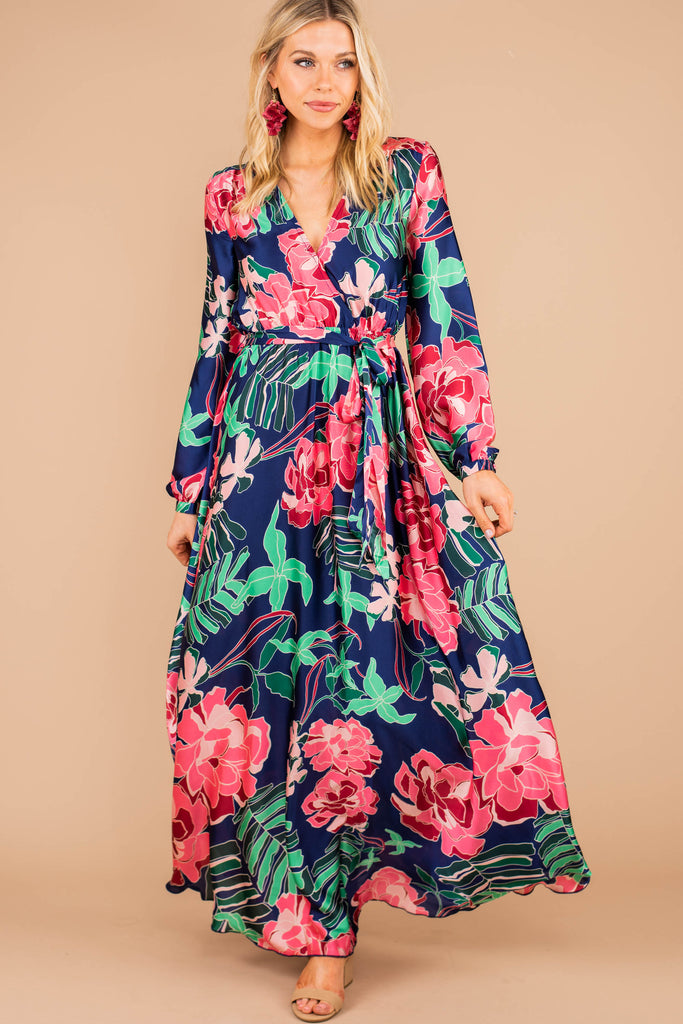 surplice v-neckline, maxi dress, vibrant floral print, long sleeves, tied waist, flowy, dress