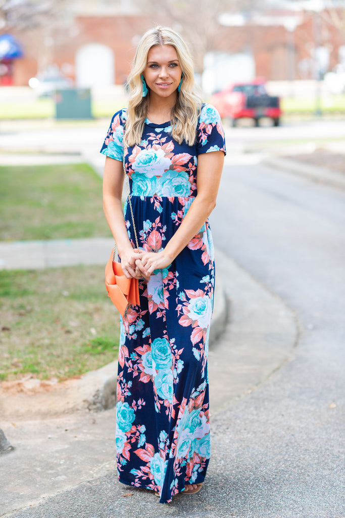 Please Be The One Maxi Dress, Denim-Mint