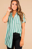 top, button down, button down top, stripes, striped top, short sleeve, short sleeved top, half tuck score, trendy, summer top, striped summer top, casual, everyday