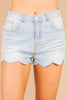 mid rise shorts, denim short, shorts, light wash, scallop hem, belt loops, pockets