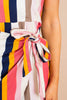 stripe dress, dress, tank dress, square neckline, thick tank straps, tie front waist, wrap style, casual, colorful, mini dress, bold