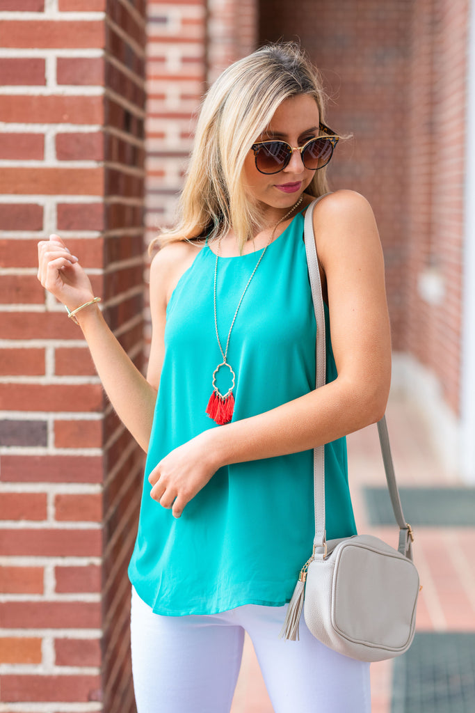 Love Letter Mermaid Green Scalloped Tank