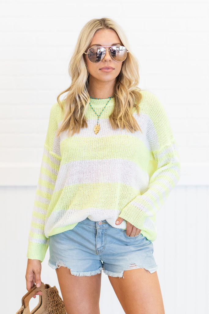 We Can Go Anywhere Sweater, Neon Yellow
