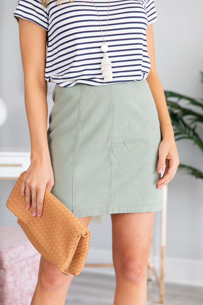 Make The Upgrades Skirt, Light Olive