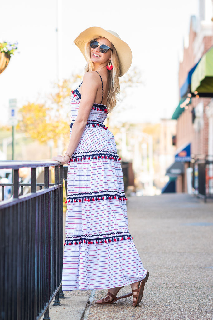 Join The Festivities Maxi Dress, Navy-Red