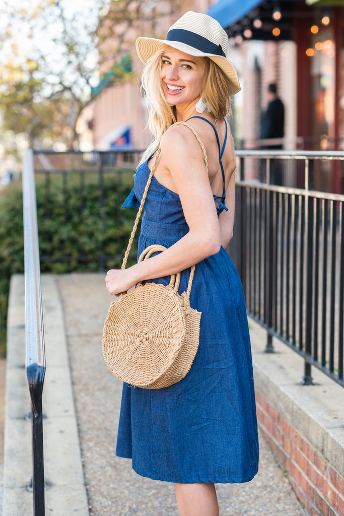 dress, midi, mid calf, solid, blue, tie front, tie front dress, tie dress, chambray fabric, chambray dress, chambray midi dress
