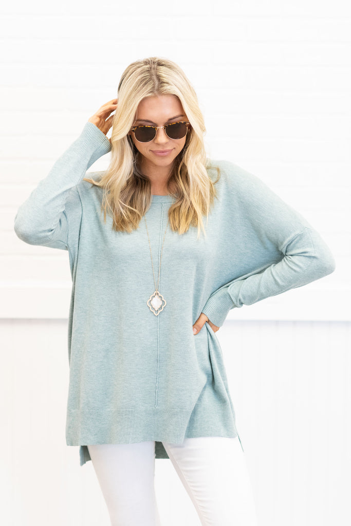 If You Want It Sweater, Heather Mint