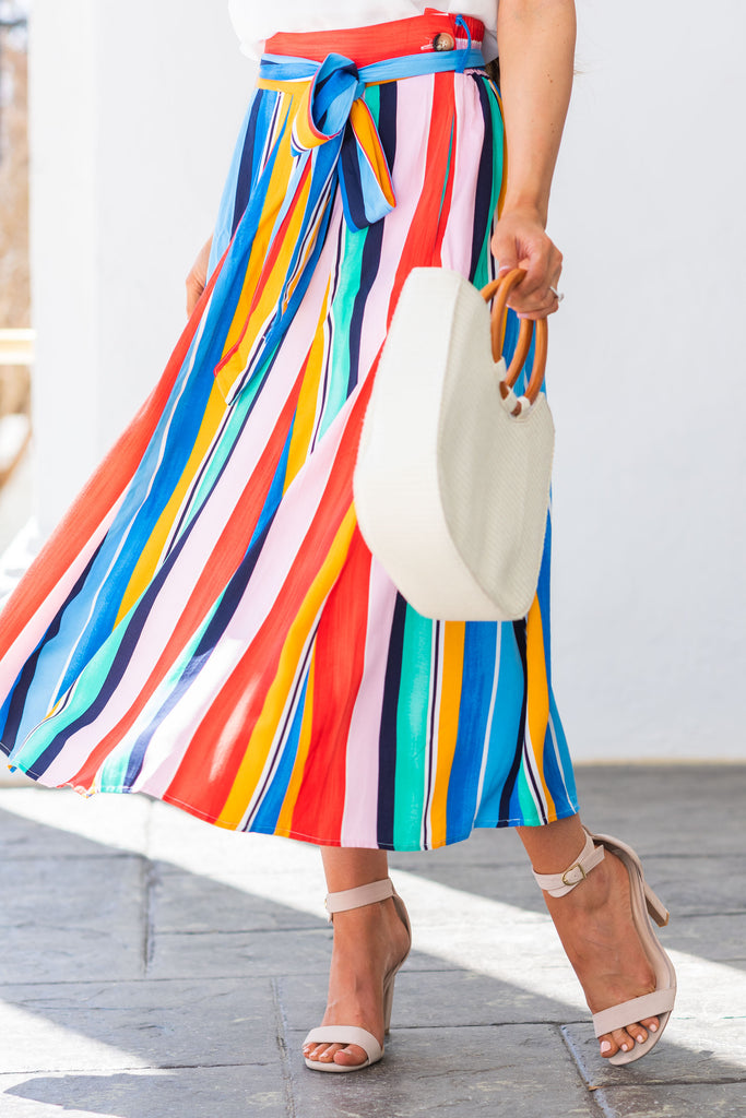 Taste The Rainbow Maxi Skirt, Blue-Multi
