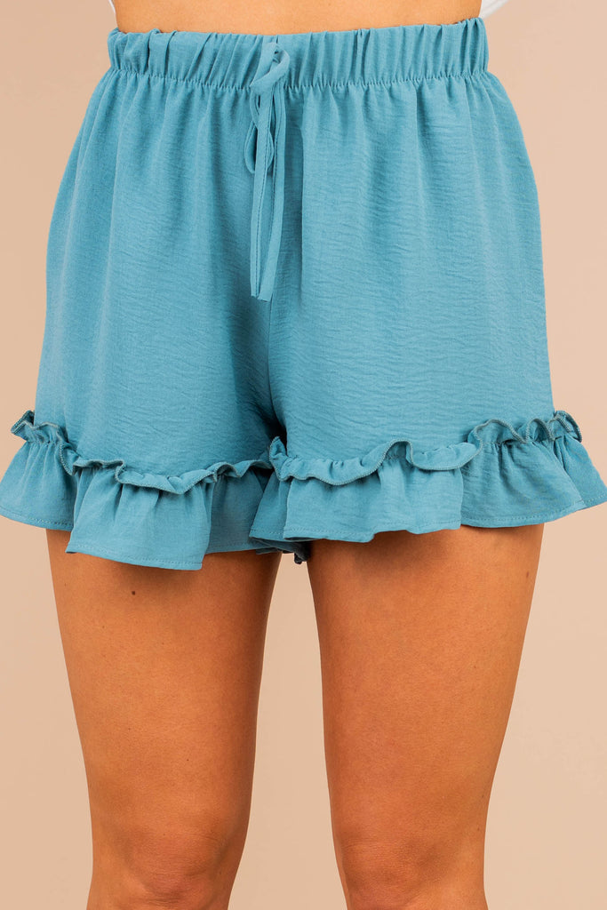 shorts, sage, sage green, tied front waist, ruffle hem, medium rise shorts, lightweight