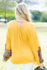 Off Into The Sunset Mustard Yellow Printed Sleeve Top