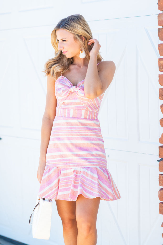 Heartbreaker Coral and Blush Pink Striped Dress