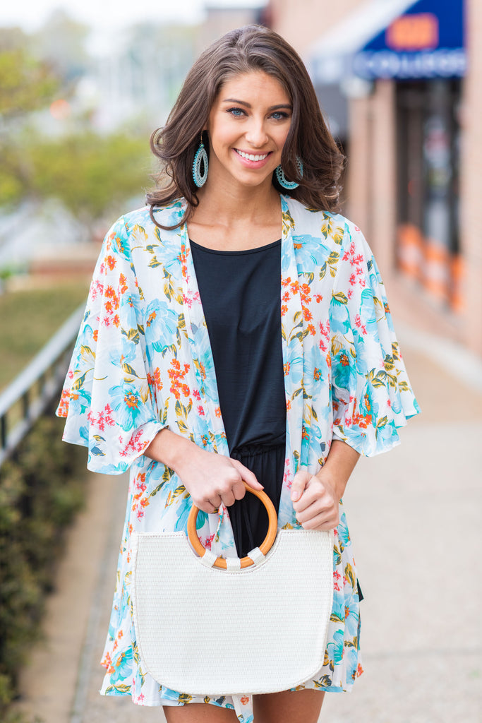 Just One More Glance Kimono, Ivory-Multi