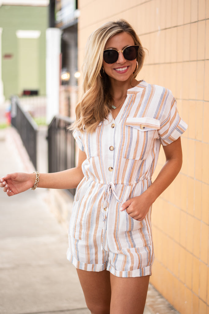 If It Makes You Happy Romper, Ivory-Mustard
