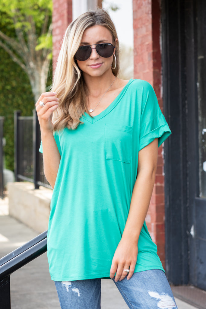 On the Go Jade Green Pocket Tee