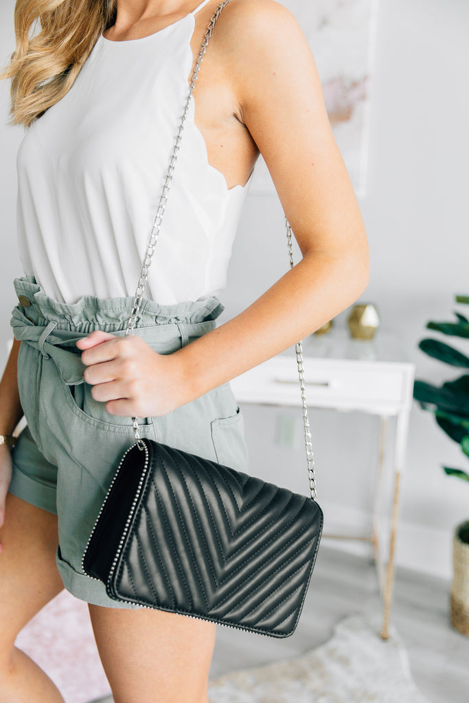 Need Your Love Classic Black Quilted Clutch
