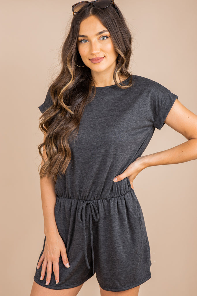 short sleeves, a round neckline, elastic tied waist, gray, grey, romper, casual romper, coverup, heather gray, heather grey, gray romper, grey romper