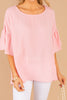 pink top, ruffle sleeves, comfy, flowy, pink, top