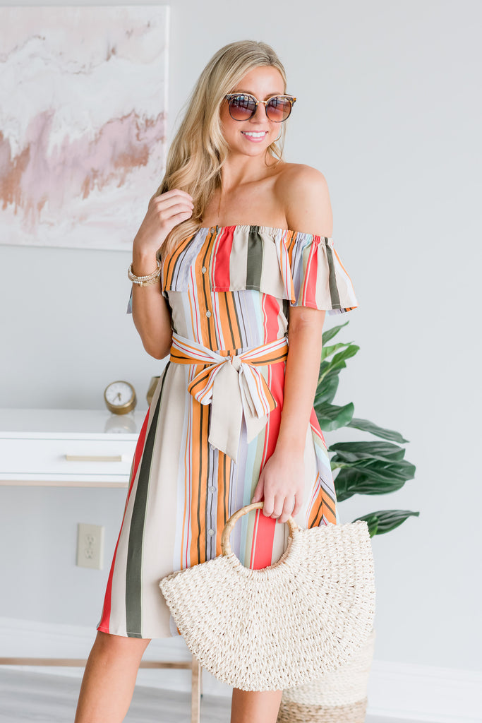 Dream In Color Taupe Multi Stripe Dress