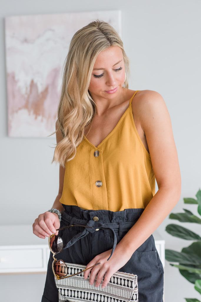 Just Take A Look Mustard Yellow Button Tank