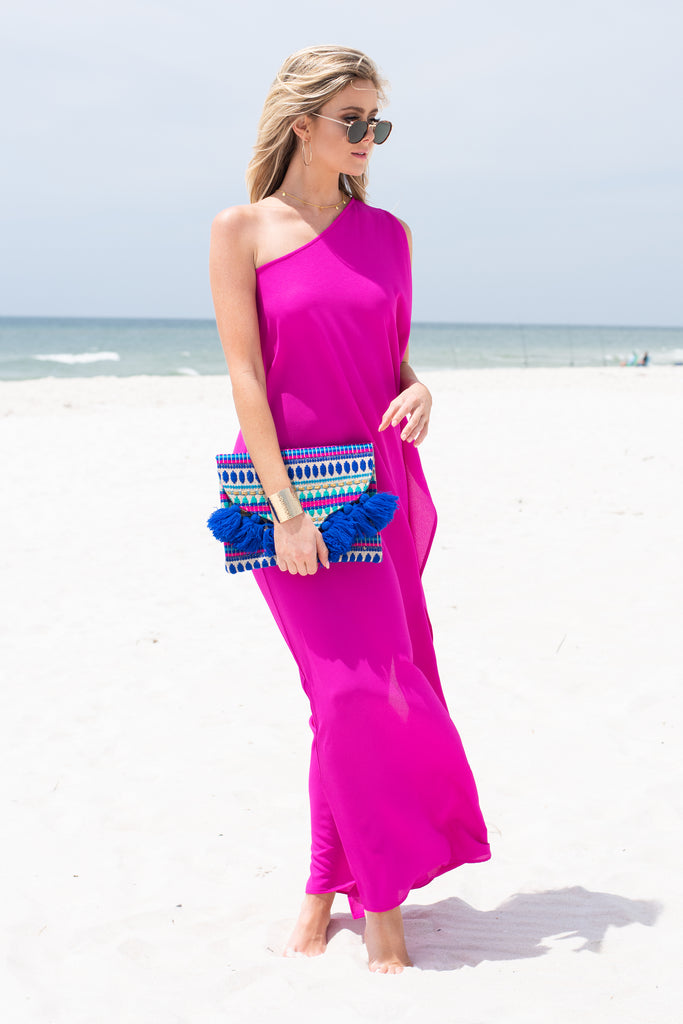 dress, maxi dress, solid, solid maxi dress, bright pink, hot pink, hot pink maxi dress, one shoulder, one shoulder maxi dress, flutter sleeve, flutter sleeved maxi dress, hannahg, hannah g, hannah godwin, summer, vacation, beach