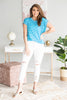 Kick Back Piko Top, Blue-White