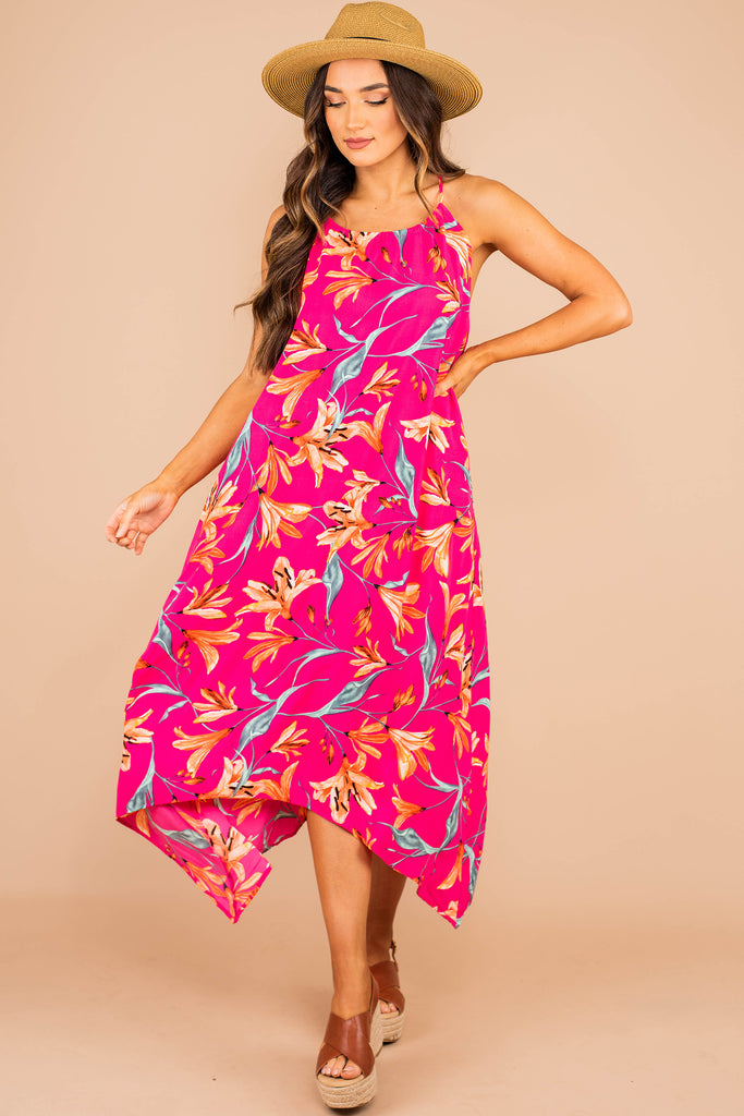 high rounded neckline, spaghetti straps, midi length, flowy, pink, bold printed dress, midi dress, fuchsia pink