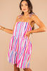 striped dress, easy fit dress, tied spaghetti straps, square neckline, drop waist, vibrant stripes, ruffle hem, colorful