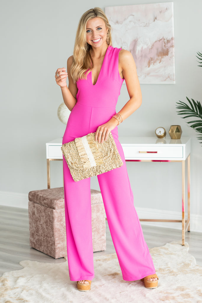 Here For The Compliments Jumpsuit, Fuchsia