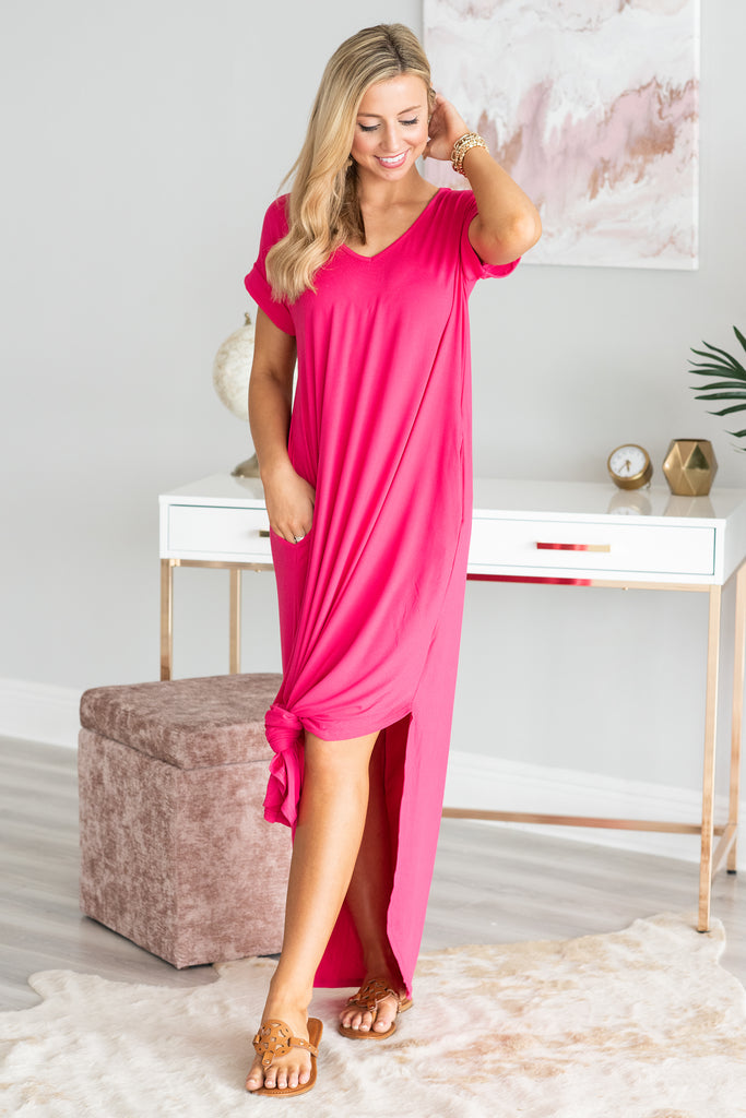 This Is No Dream Maxi Dress, Hot Pink