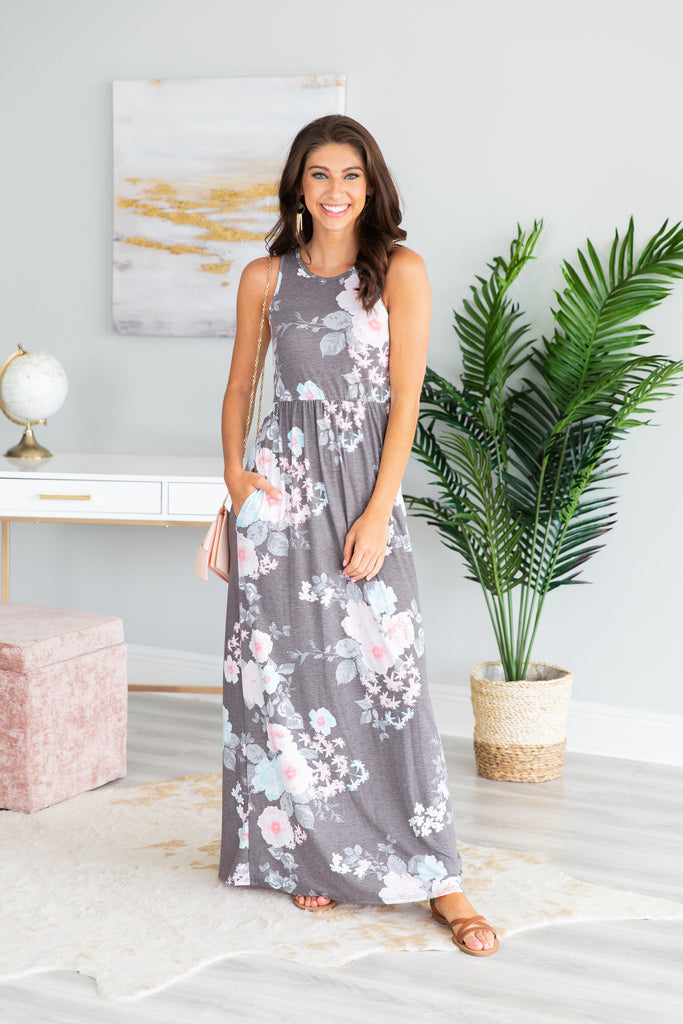 Feeling So Lovely Maxi Dress, Charcoal