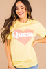 yellow, graphic tee, round neckline, short sleeves, tee