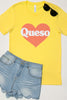 Queso Love Heather Yellow Graphic Tee