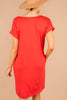 t-shirt dress, dress, v-neckline, pockets, jersey knit  fabric, dress, classic fit, soft fabric, casual, red, pockets