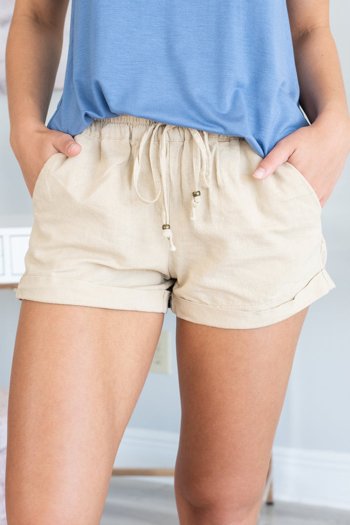 Into My Heart Shorts, Taupe