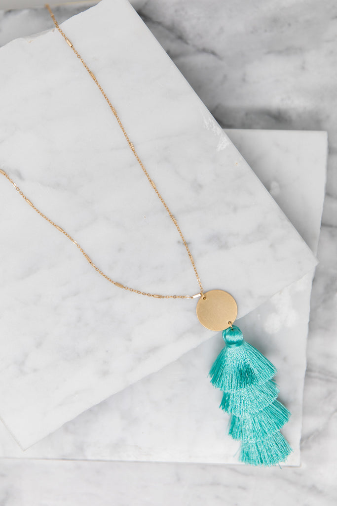 Make What Makes You Happy Necklace, Light Teal