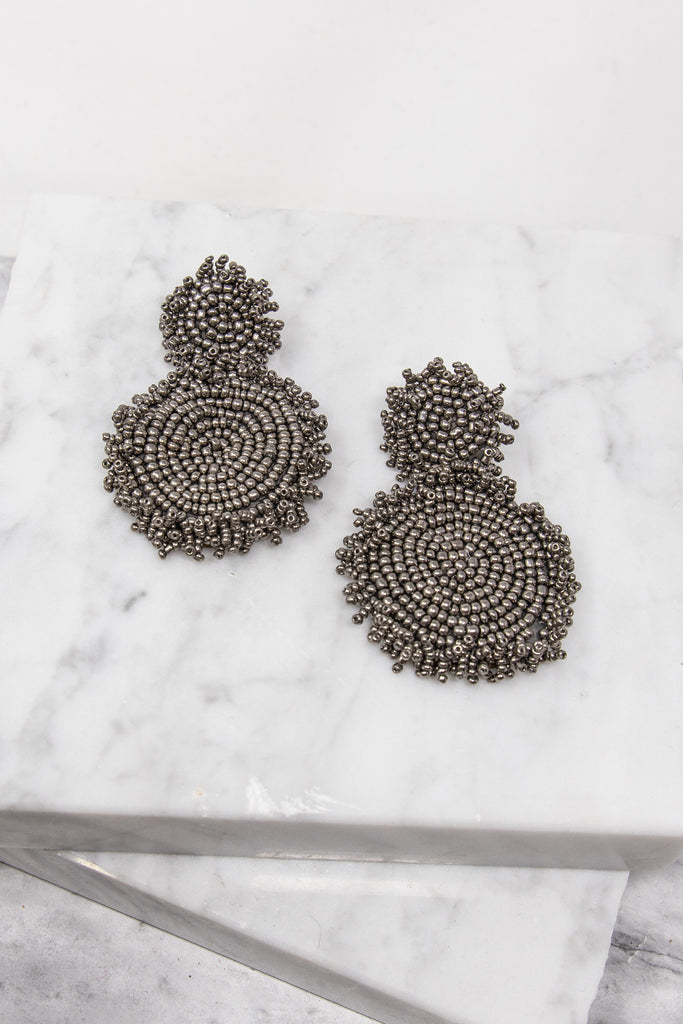 Gotta Get Going Pewter Gray Beaded Earrings