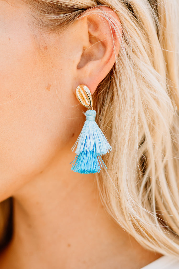 Shell Yeah Earrings, Blue