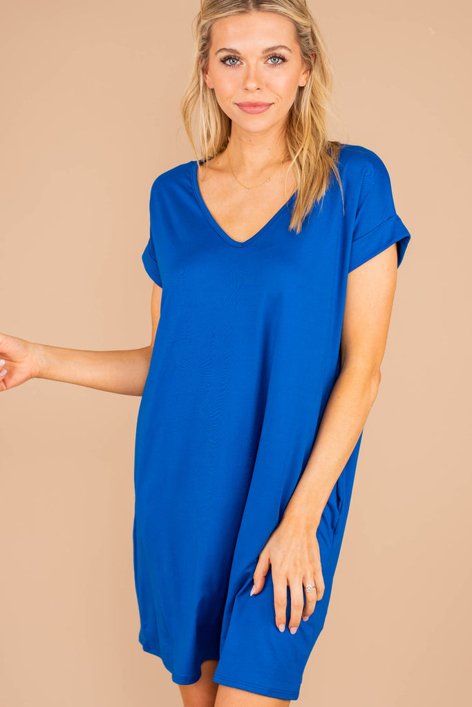 t-shirt dress, dress, royal blue, classic t-shirt, v-neckline, pockets, jersey knit fabric, soft, casual, classic fit