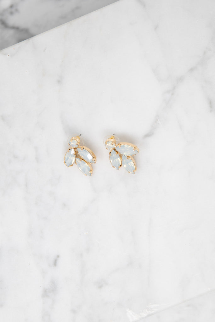 It's a Statement White Crystal Stud Earrings