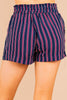high waisted, paperbag hem, tied front, stripes, striped shorts, shorts, navy blue, red