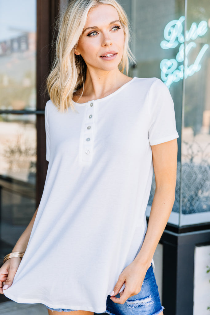 rounded hem, button front detailing, short sleeves, white, top, henley top