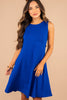 dress, wide rounded neckline, thick tank straps, pockets, knee length, royal blue, flattering, soft fit, flare silhouette