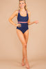 navy, one piece swimsuit, blue stripes, criss cross straps, star print, waistline