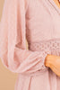pink dress, dress, plunging v-neck, long sleeves, swiss dot fabric, crocheted detailing, lining, pink, date night