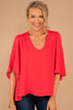 red, top, red top, v-neckline, short flutter sleeves, flowy fit, ruffle sleeve top, light, feminine