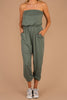 jumpsuit, green jumpsuit, versatile, strapless, casual