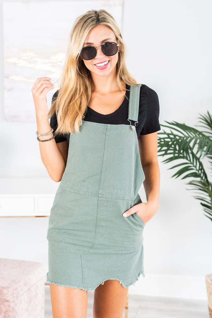 What Could Be Olive Green Overall Dress
