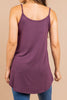 top, spaghettie stap, tank top, solid, solid tank top, eggplant, purple, eggplant tank, purple tank, summer styles, easy to style, wear with white jeans, wear with deni shorts, wear with white shorts, wear with a skirt, easy to style, casual top, casual tank, tie-knotted, tie-knotted tank, knotted tank top, beach tank, vacation tank, summer tank, simple, cute